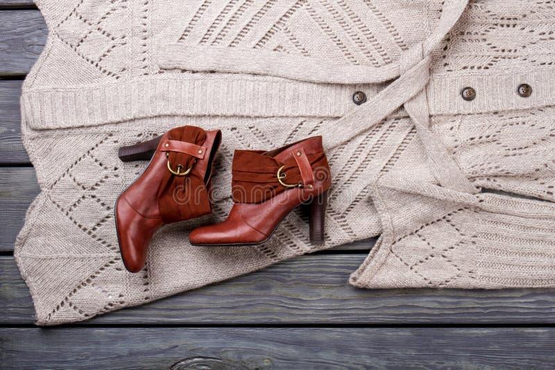 对棕色脚跟鞋类 免版税库存照片