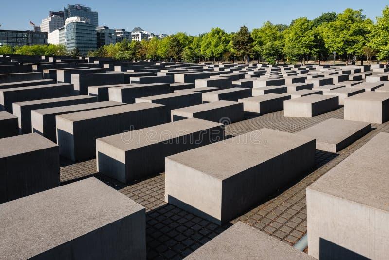 对欧洲的被谋杀的犹太人的浩劫纪念柏林德国纪念品 免版税库存照片