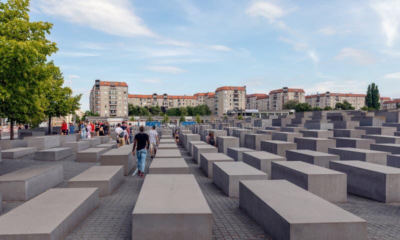 对欧洲的被谋杀的犹太人的纪念品在柏林 图库摄影