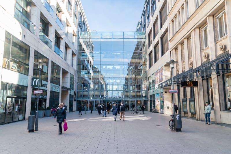 对欧罗巴段落购物中心的入口Altstadt处所的汉堡 库存照片