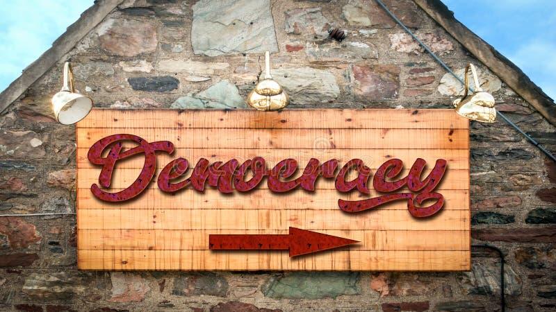 对民主的路牌 免版税库存图片