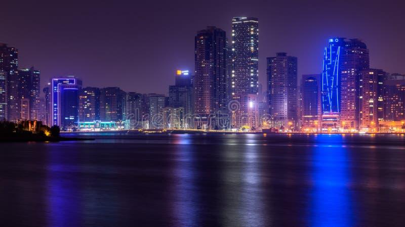 对沙扎地平线,阿拉伯联合酋长国的美丽的景色 图库摄影