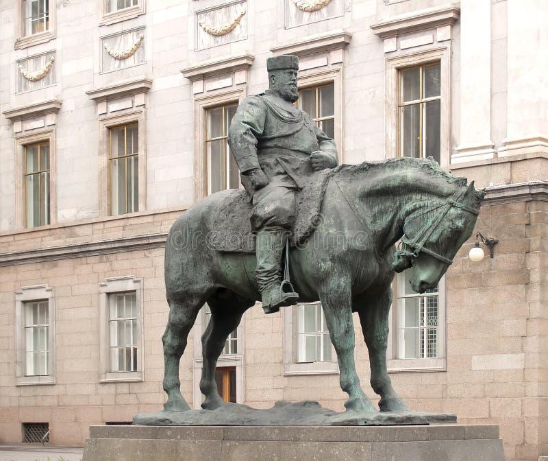对沙皇亚历山大的纪念碑在大理石宫附近的三 圣彼德堡 库存图片
