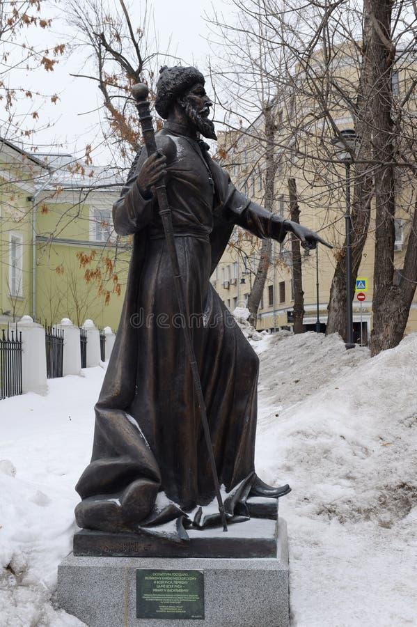 对沙皇伊冯的纪念碑可怕在统治者胡同在莫斯科 库存照片