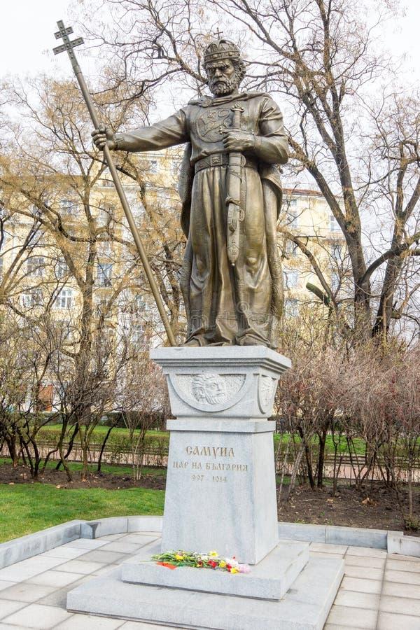 对沙皇撒母耳的纪念碑在索非亚,保加利亚的中心 图库摄影