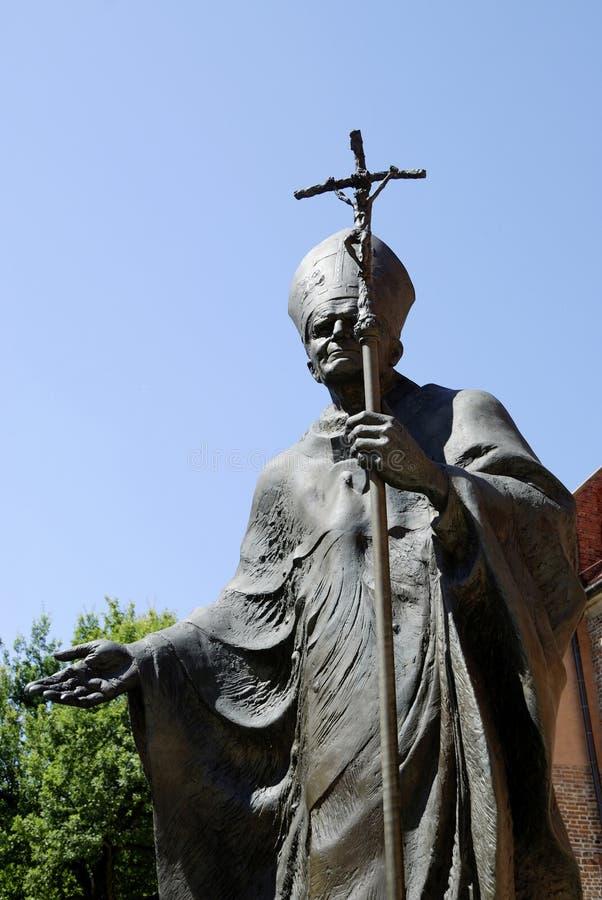 对波兰教宗若望保禄二世的纪念碑 在克拉科夫 免版税库存照片