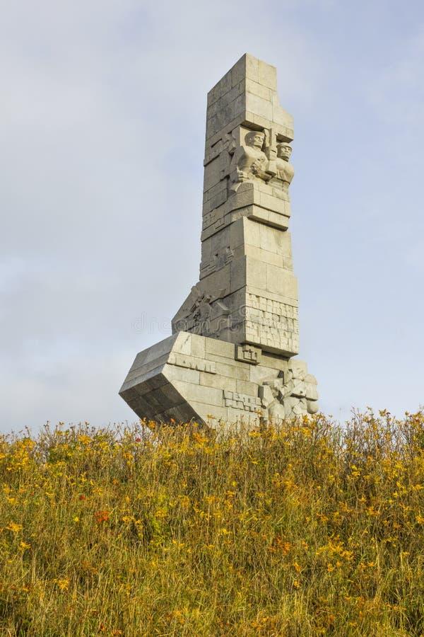 对波兰海岸的防御者的纪念碑在Westerplatte,波兰的 免版税库存图片