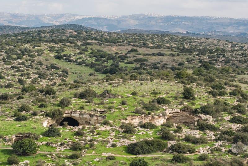 对洞的入口在国立公园拜特Guvrin 库存照片