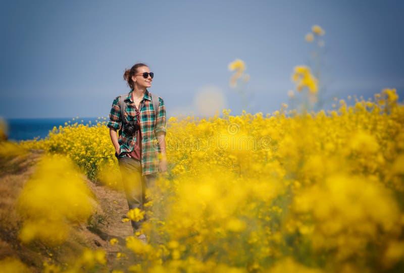 对济州岛的旅行,韩国,少女游人在开花的领域背景走  免版税库存照片