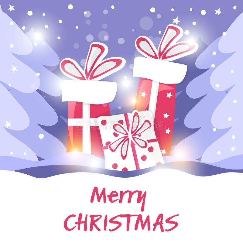 对海报、横幅、明信片、销售和其他冬天事件 漫画,动画片样式  圣诞节cardÑŒ 库存例证