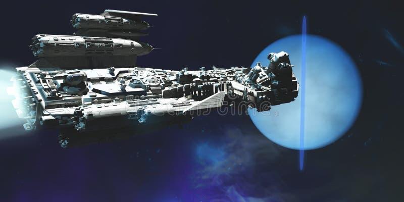 对海王星的太空飞船 皇族释放例证