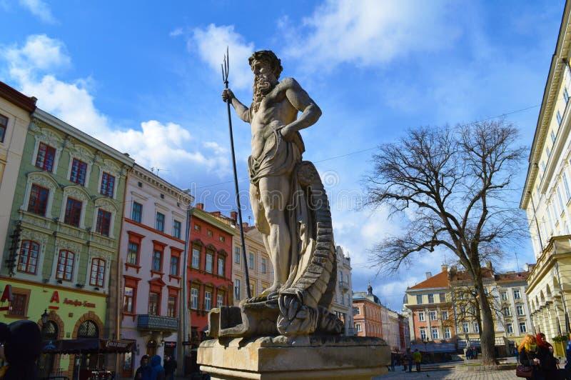 对海王星的纪念碑 免版税库存图片