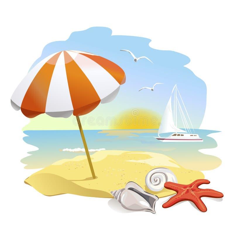 对海滩、阳伞和壳的象 库存例证