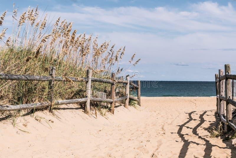 对海滩的路与在Sandbridge的木篱芭 免版税图库摄影