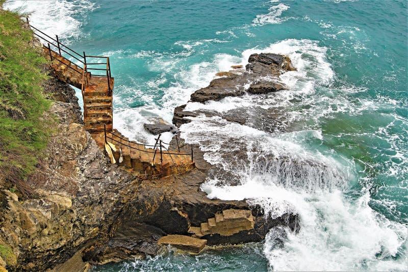 对涅磐的楼梯间,在Nirva,热那亚,利古里亚,意大利 免版税库存照片