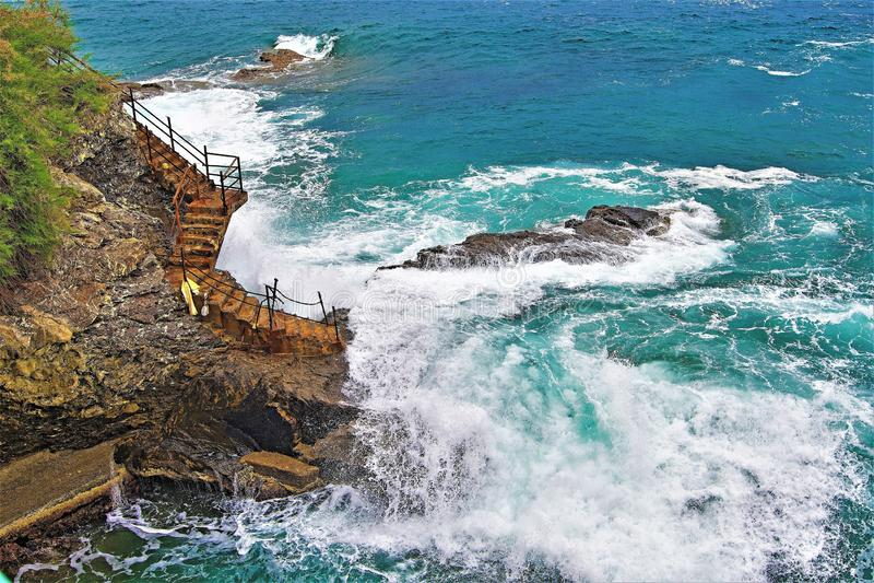 对涅磐的楼梯间,在Nirva 2,热那亚,利古里亚,意大利 库存照片