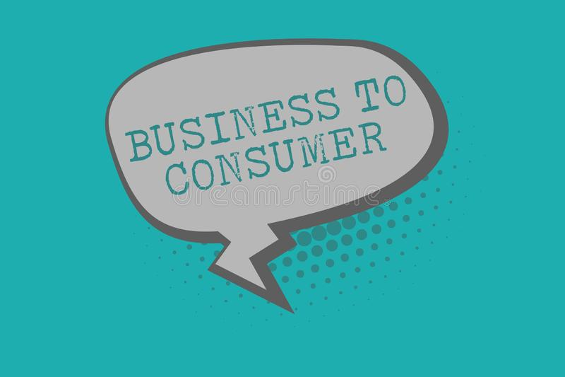 对消费者的概念性手文字演艺界 在公司和末端之间的企业照片文本直接交易 库存例证