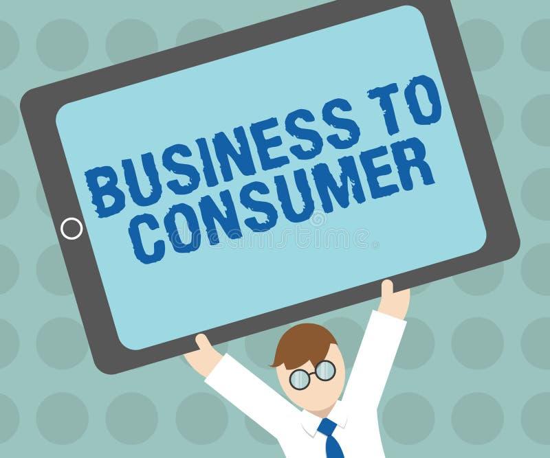 对消费者的概念性手文字演艺界 在公司和末端之间的企业照片文本直接交易 向量例证