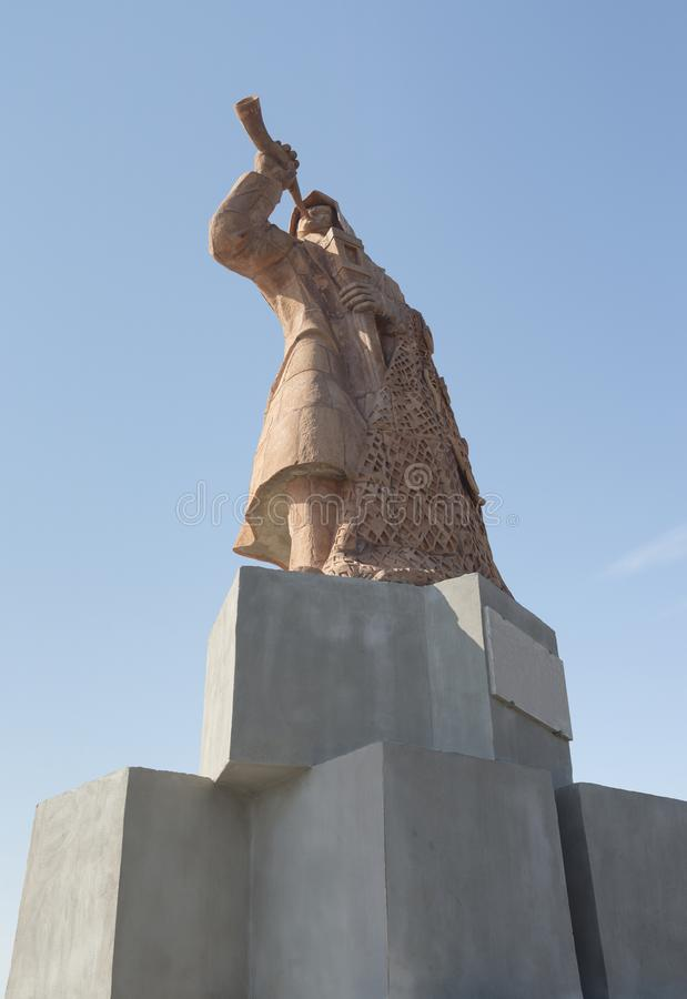 对渔夫的纪念碑圣Benedetto del Tront港的  免版税库存图片