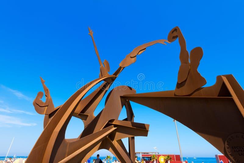 对游泳的进贡-巴塞罗那西班牙 库存图片