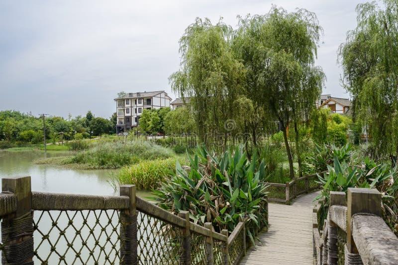 对湖边农村住宅大厦的木人行桥在晴朗 免版税库存照片