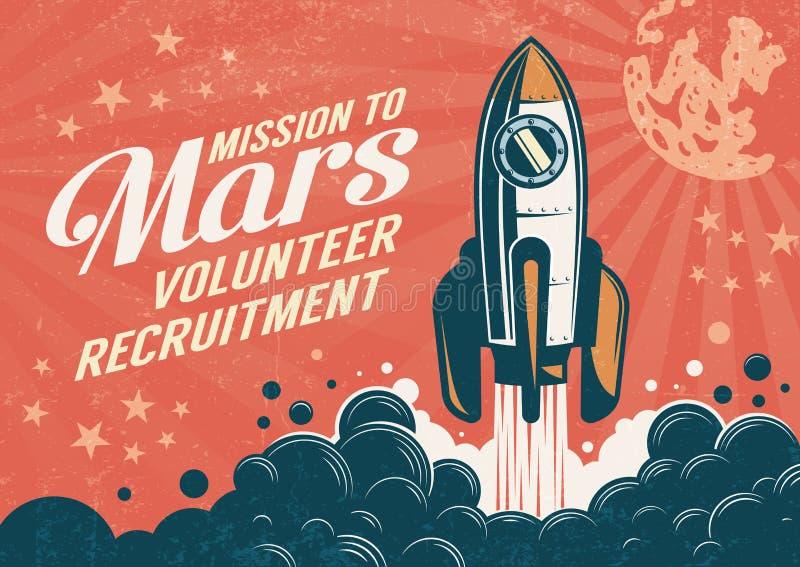 对火星-在减速火箭的葡萄酒样式的海报的使命 向量例证