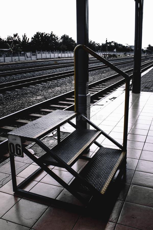 对火车的台阶 库存图片