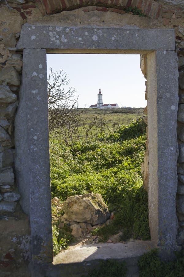 对灯塔的看法 免版税库存照片