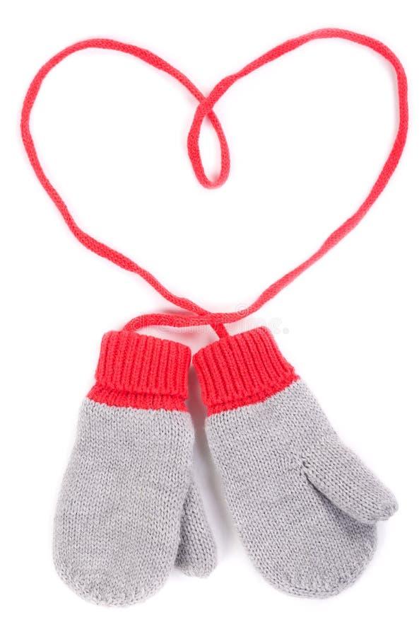 对灰色婴孩手套 免版税库存照片
