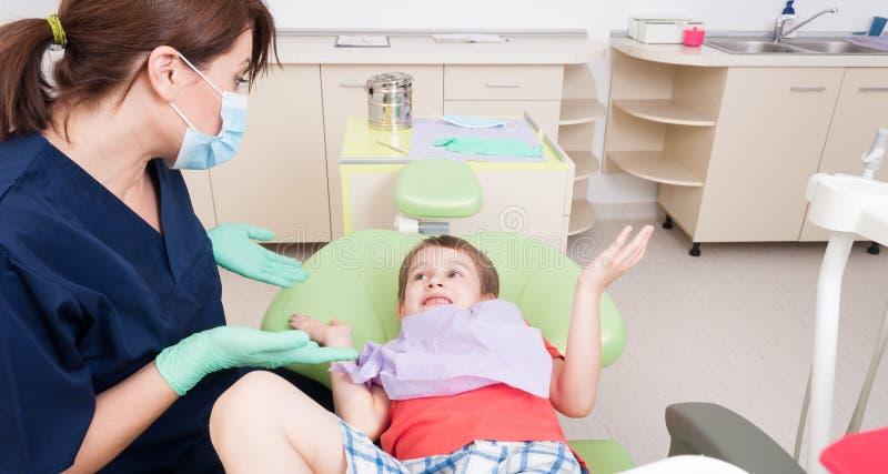对牙医概念的没有恐惧 免版税库存图片