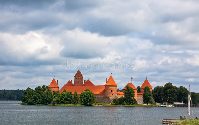 对特拉凯城堡,立陶宛的看法 免版税库存图片