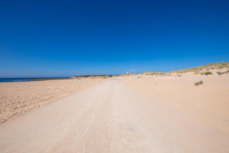 对特拉法加海角的偏僻的沙子轨道在卡迪士 图库摄影