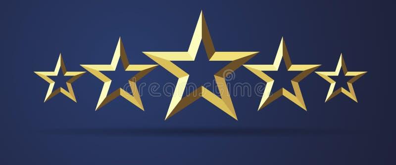 对现实金黄3D象估计的五个星 皇族释放例证