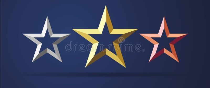 对现实3D象估计的金黄,银色和古铜色星 向量例证