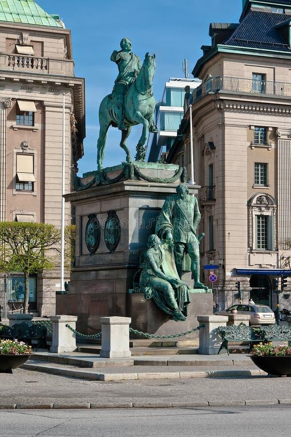 对瑞典的Gustavus Adolphus国王的纪念碑 库存图片