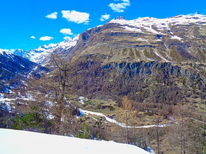 对瑞士阿尔卑斯和多雪的山的看法 免版税库存图片