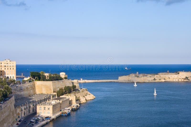 对瓦莱塔全部港口的视图  图库摄影