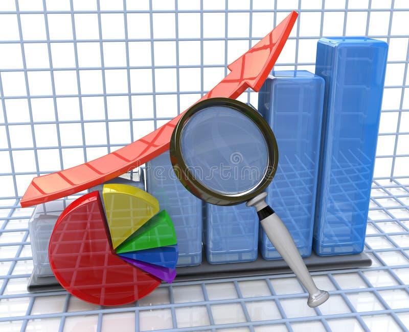 对生长企业图表和圆形统计图表和扩大化的分析 皇族释放例证