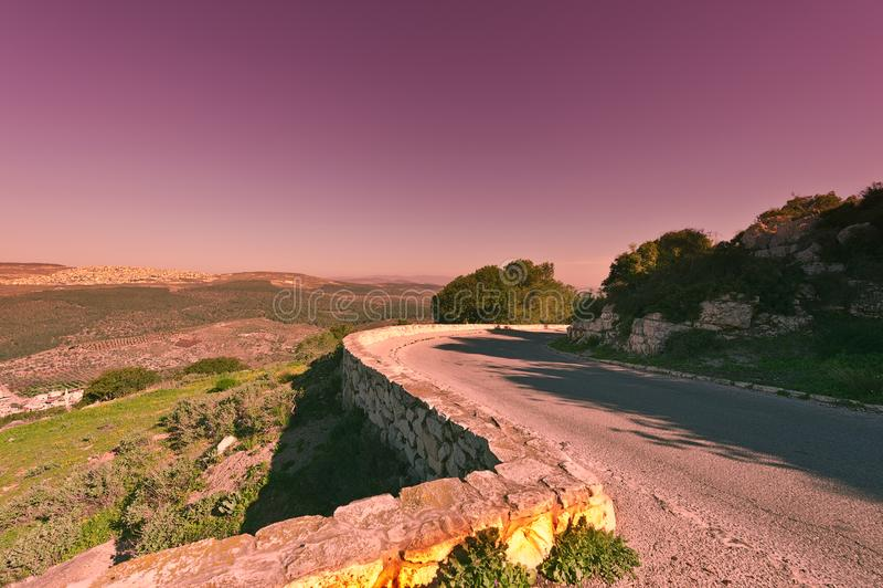 对登上塔博尔的沥青 库存照片