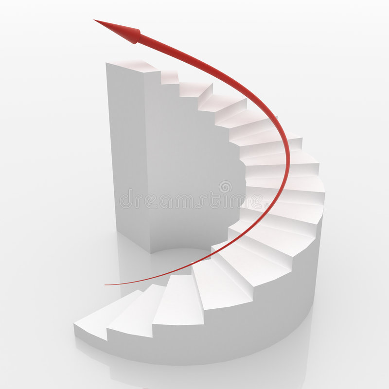 对白色的螺旋台阶成功 免版税库存照片
