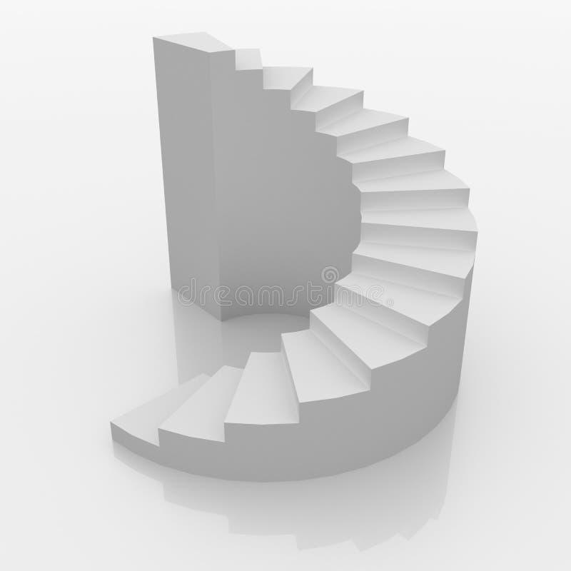 对白色的螺旋台阶成功 库存图片