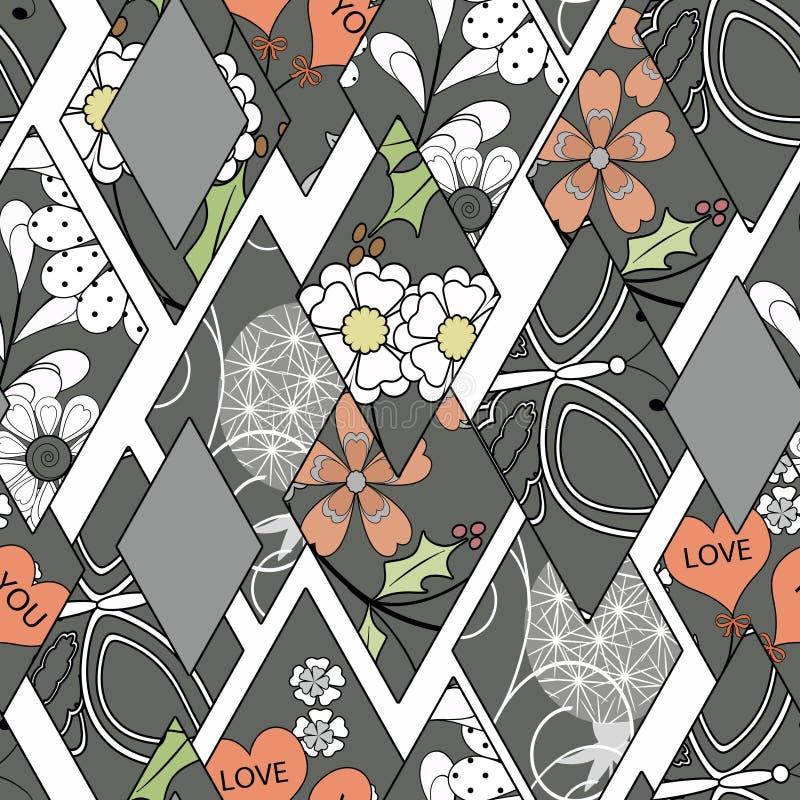 对白色背景的补缀品无缝的花卉样式灰色 皇族释放例证