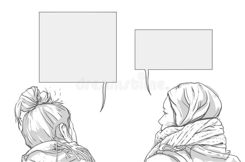 对的例证可爱的少妇坐和谈话与在黑白的空的闲谈箱子 向量例证