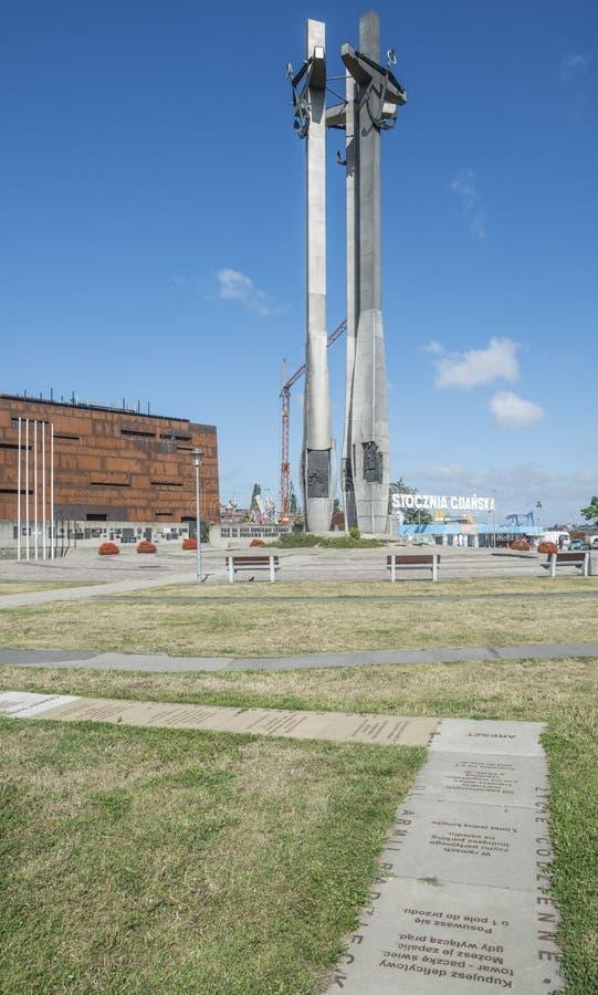 对的纪念碑下落冲突1970年格但斯克波兰欧洲 免版税库存照片
