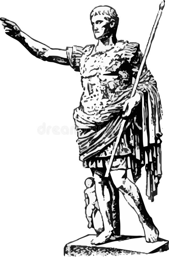 对皇帝奥古斯都的一座美丽的纪念碑在灰色的白色背景的 库存例证