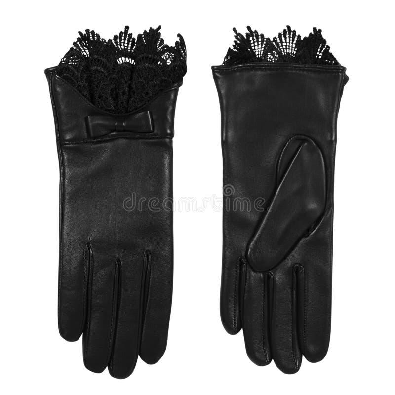 对皮革女性手套 图库摄影
