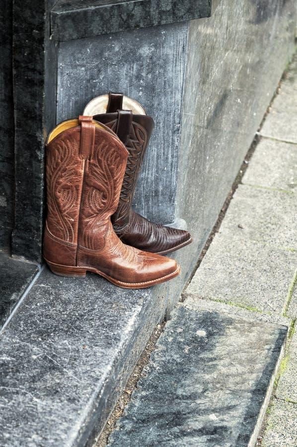 对皮革牛仔靴 库存照片