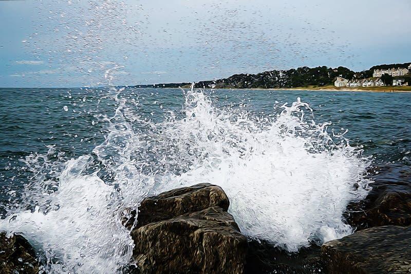 对石头的波浪罢工 油画图片 在与小屋和树的背景小山 免版税库存图片