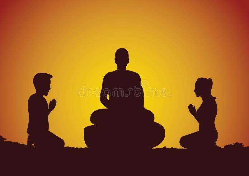 对礼貌修士的佛教妇女和人薪水尊敬与信念a 向量例证
