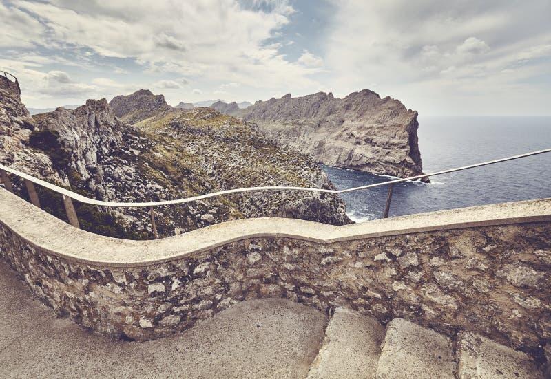 对福门特拉岛海角监视观点,马略卡的台阶 免版税图库摄影